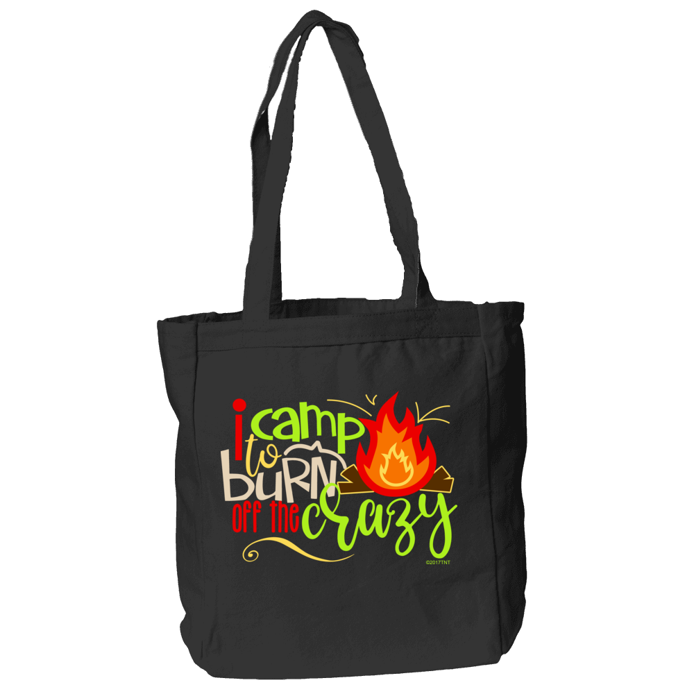 I Camp to Burn Off the Crazy Tote Bag in Black