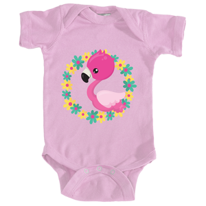 Flamingo Baby Onesie in Seashell Pink