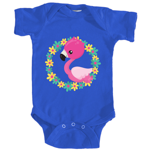 Flamingo Baby Onesie in Royal Blue