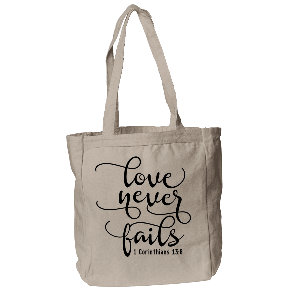 Corinthians Love Never Fails Christian Theme Tote Bag in Natural