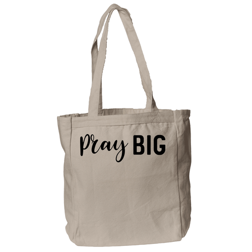 Pray Big Christian Theme Tote Bag in Natural