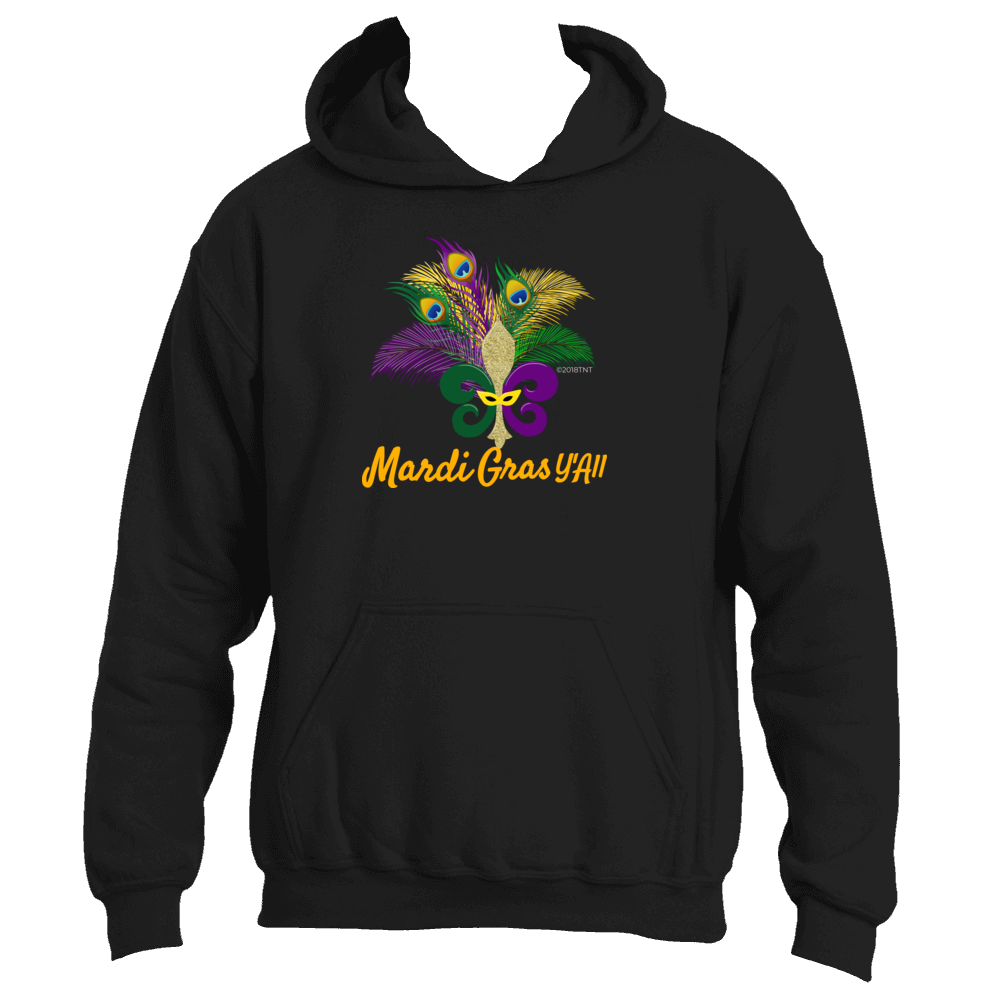 Mardi Gras Y'All Fun Adult Fleur de Lis Peacock Feathers Mardi Gras Hoodie
