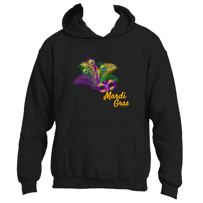 Mardi Gras Fun Adult Feathered Mask Mardi Gras Hoodie