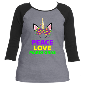 Love Peace Mardi Gras Unicorn Women's Raglan 3/4 Sleeve TShirt