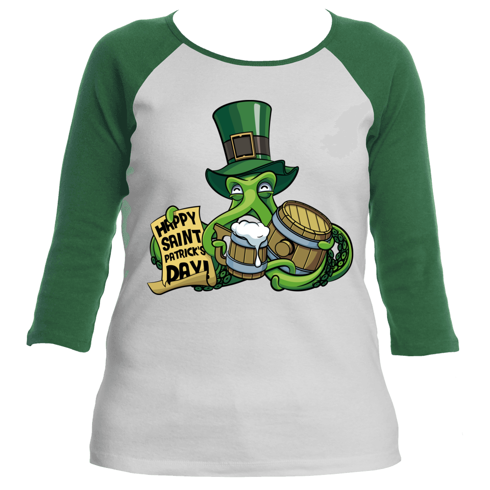 St Patrick's Day Octopus Women's Raglan T-Shirt
