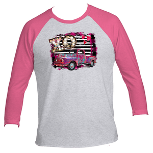 Vintage Look XO Old Pink Up Truck 3/4 Raglan Sleeve Adult TShirt
