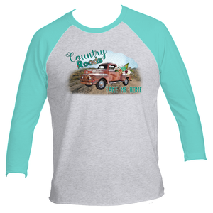 Country Roads Take Me Home Vintage Truck Adult 3/4 Sleeve Raglan TShirt
