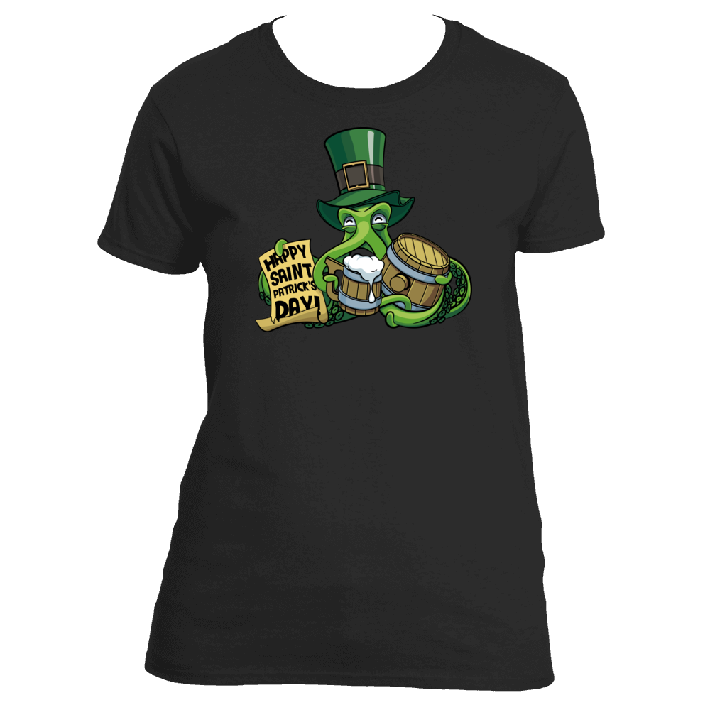Funny Beer Drinking Octopus St. Pat's Women's TShirt