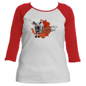 Don't Bullshit Me Darlin Womens Red and White 3/4 Sleeve Raglan T-Shirt