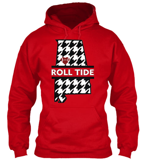 Roll Tide Houndstooth State of Alabama Unisex Hoodie