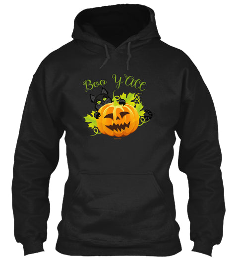 Boo Y'All Cute Halloween Cat and Jack O Lantern Adult Hoodie