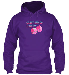 Crazy Bunco Lady Bunco Hoodie Available in Black, Navy or Purple