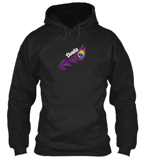 Doula Purple Peacock Feather Hoodie