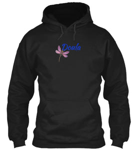 Doula Purple Dragonfly Unisex Hoodie