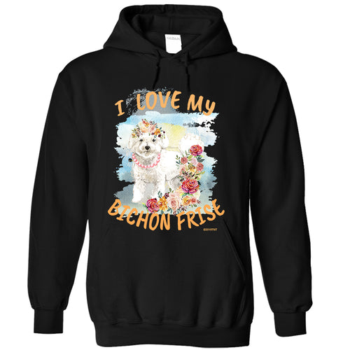 I Love My Bichon Frise Dog Unisex Adult  Hoodie Girl Dog Version