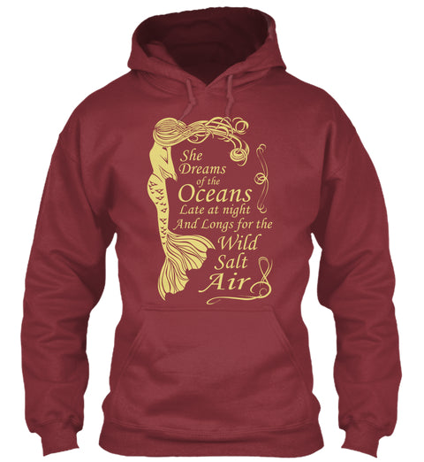 Mermaid Maiden - She Dreams of the Ocean Cranberry Hoodie