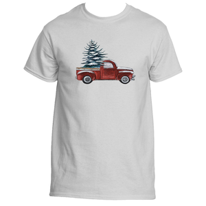 Old Red Pickup Truck and a Christmas Tree T-Shirt