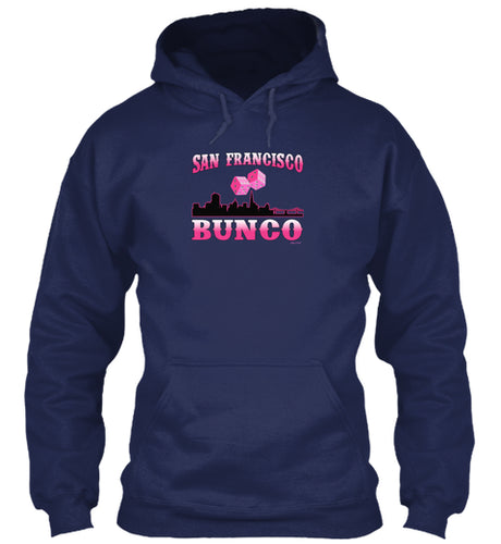 San Francisco Bunco Fun Cityscape Bunco Meetup Hoodie in Navy or Purple