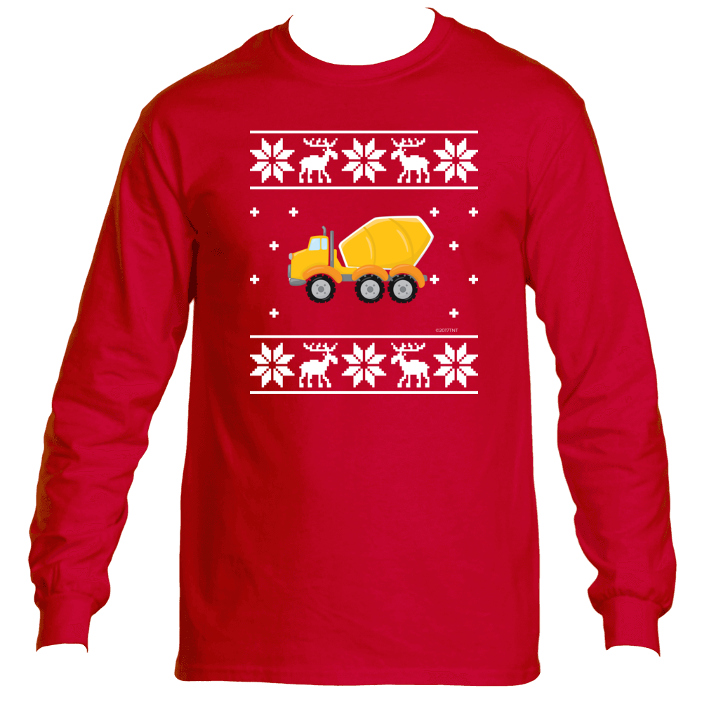 Ugly Christmas Sweater Long Sleeve T-Shirt Cement Truck Concrete Mixer