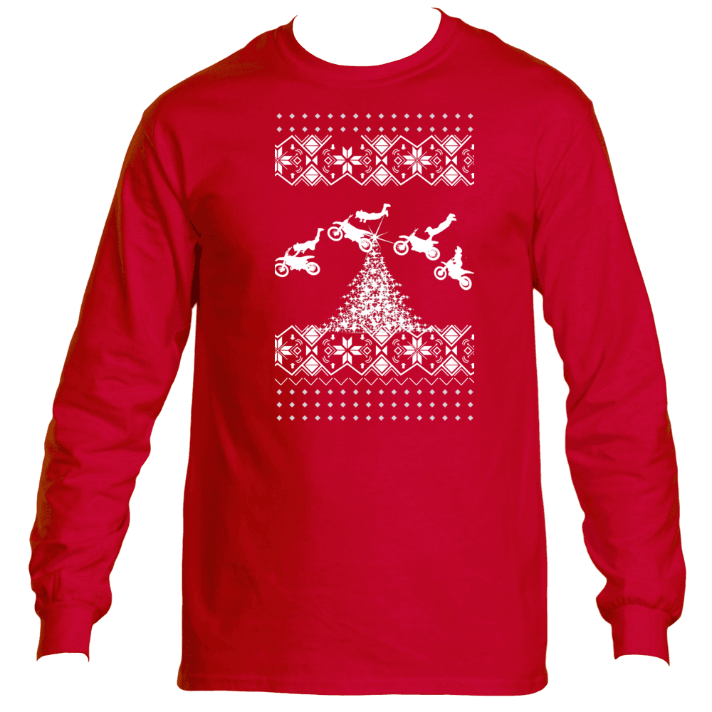 Ugly Christmas Sweater Long Sleeve T-Shirt Dirt Bike