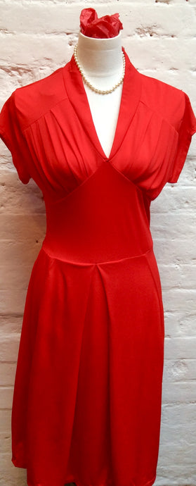 Retro WW2 1940s Style Red Dress Size 14