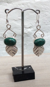 Green stoned earrings with leaf drop
