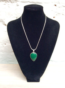 Silver Plated Jade Coloured Pendant on Silver Plated chain