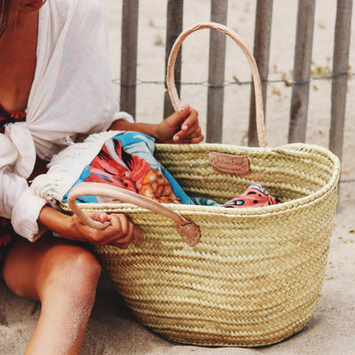 French basket beach bag