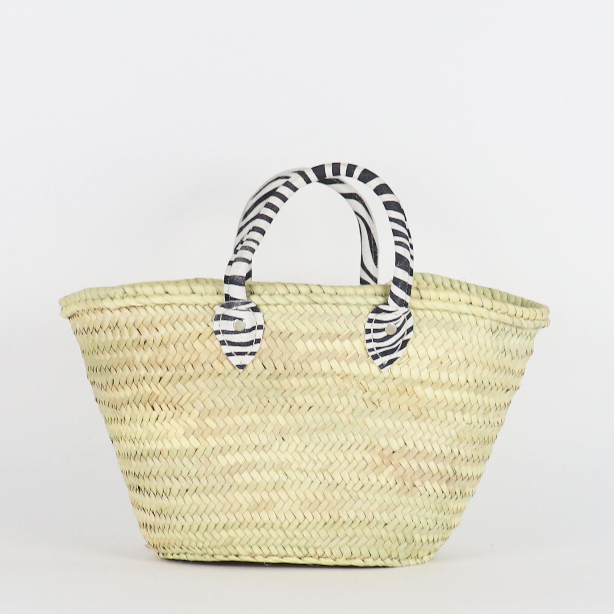 Zebra straw bag, French Basket, Beach, Farmers market, Sustainable bag, Classic, Basic