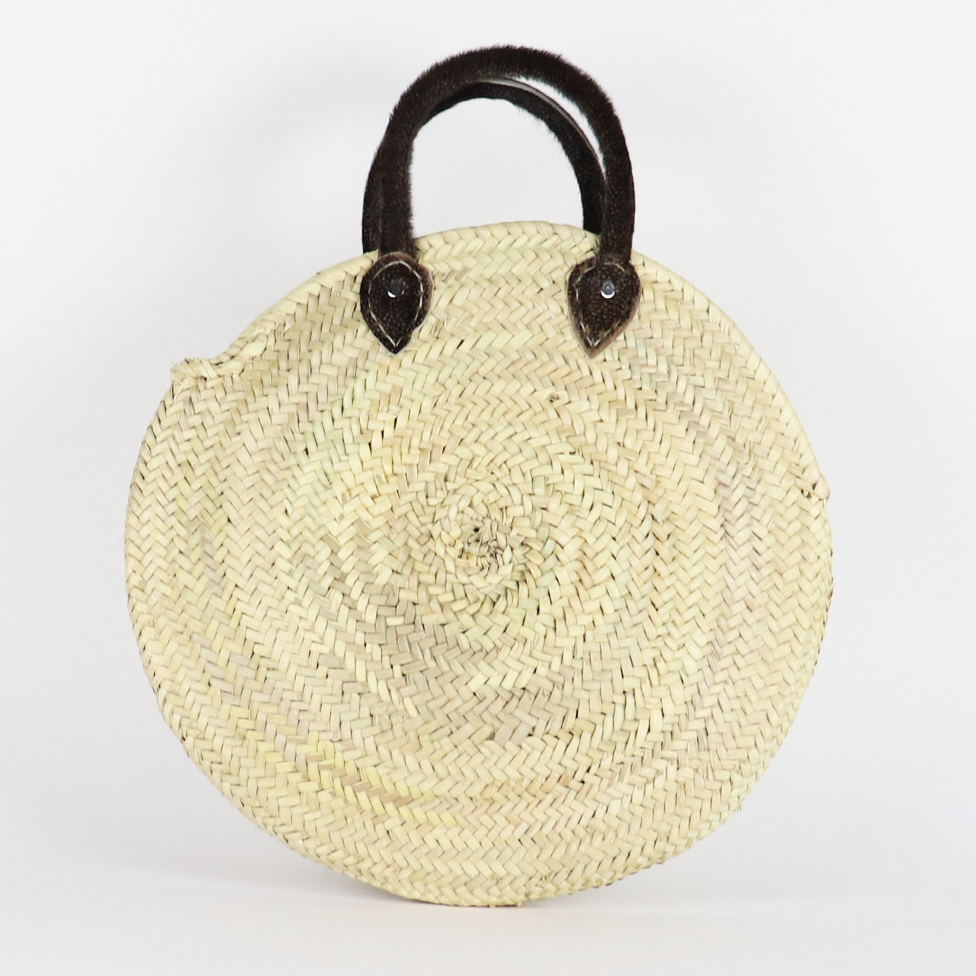 Furry round straw bag, French Basket, Beach, Farmers market, Sustainable bag, Classic, Basic