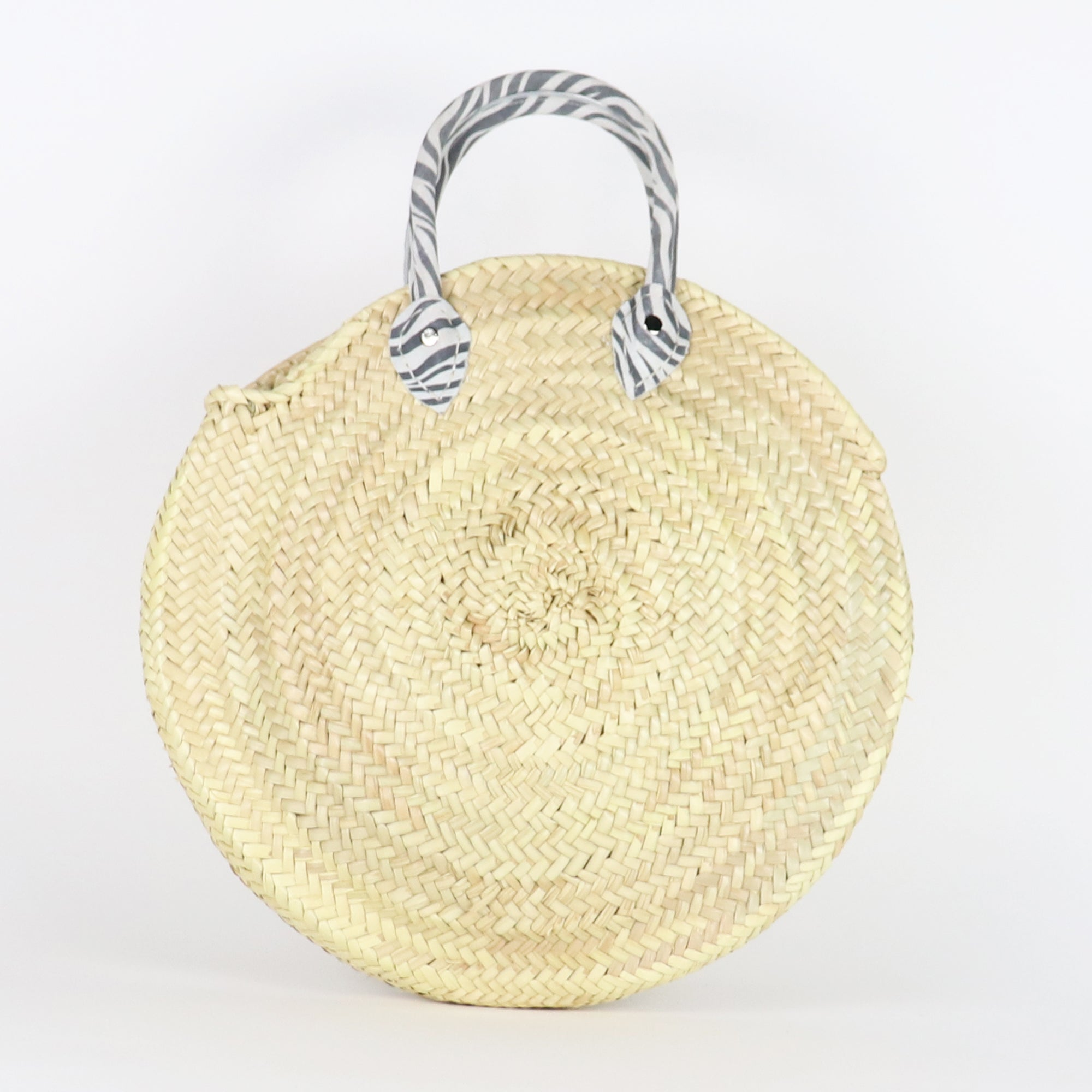 Zebra round straw bag, French Basket, Beach, Farmers market, Sustainable bag, Classic, Basic