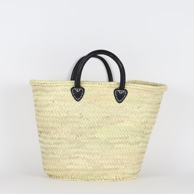 French basket in large capacity, straw finish and black handles made from leather in Morocco