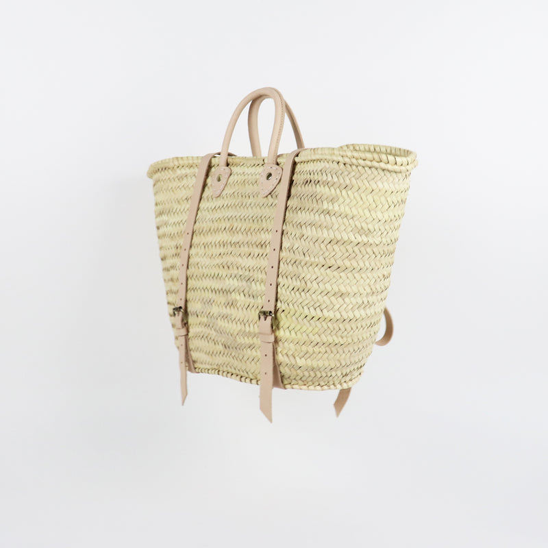 Natural Straw backpack in traditional french basket shape and leather handles