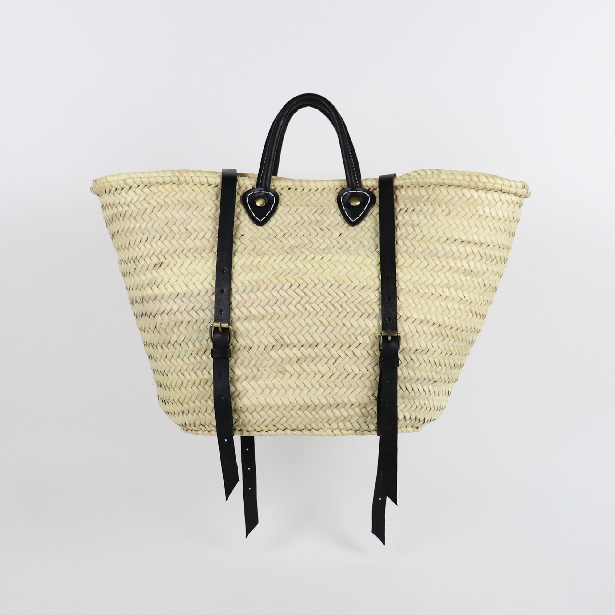 BLACK Straw backpack in traditional french basket shape and leather handles