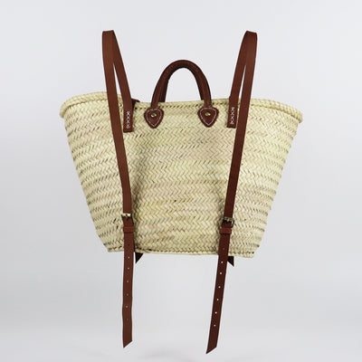 Adjustable carry on in woven palm leaves and vegetable tanned leather handles