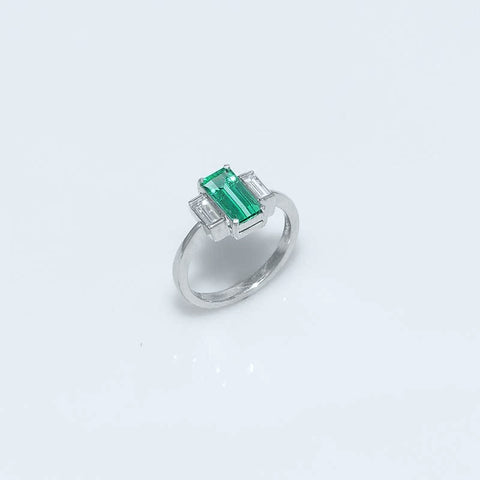 Emerald & Diamond Colombian Ring