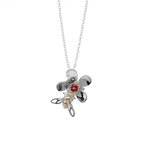 Load image into Gallery viewer, Small Mānuka Flower & Honey Bee Pendant
