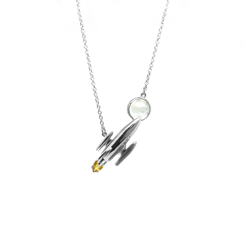 Load image into Gallery viewer, Rocket & Moon Pendant