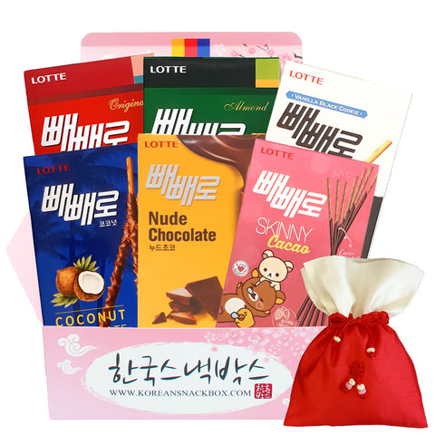 Just Pepero Korean Snack Gift Box - Lotte Pepero, Skinny Cacao Pepero, Vanilla Black Cookie Pepero, Almond Pepero, Nude Chocolate Pepero, Coconut Pepero, Original Pepero, Pepero Double Dip Cafe Latte, Pepero Double Dip Sweet Yoghurt etc. - K-snacks