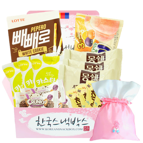 Whyte Day Korean Snack Gift Box - Pepero Vanilla Black Cookie, Mon Cher IU, Custard etc. - K-snacks