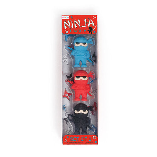 ooly ninja erasers - set of 3