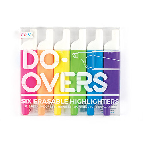 ooly do-overs erasable highlighters - set of 6