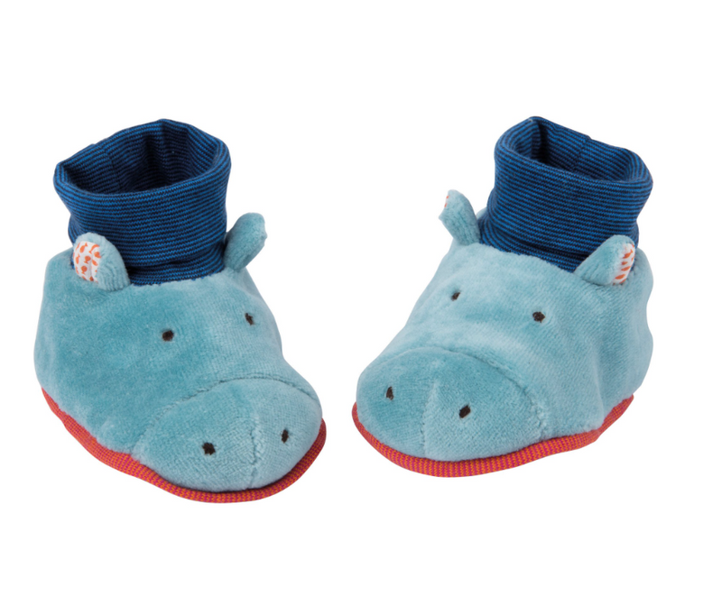 Les Papoum Hippo Baby Slippers Moulin Roty