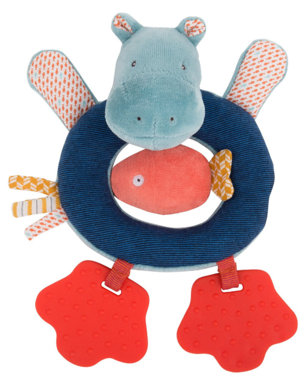 Les Papoum Hippo Ring Rattle Moulin Roty