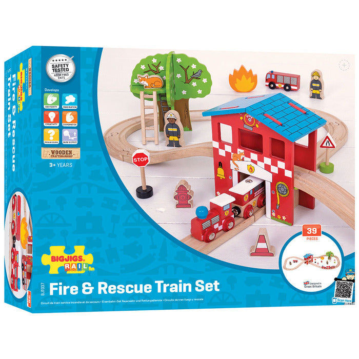 BigJigs Rail Fire Station Train Set