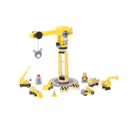 BigJigs Rail Big Yellow Crane Construction  Set