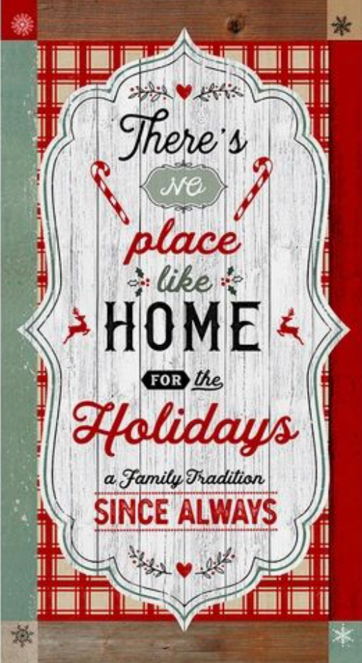 "Home For The Holidays - Christmas Fabric Panel - 24"" x 42"""