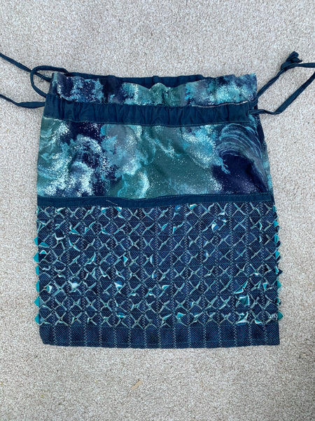 "Ready Made - Aqua Drawstring Bag 15"" x 17"" finished sample"