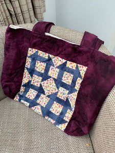 "Ready Made - Purple Churn Dash 14"" x 21"" shoulder bag finished sample"