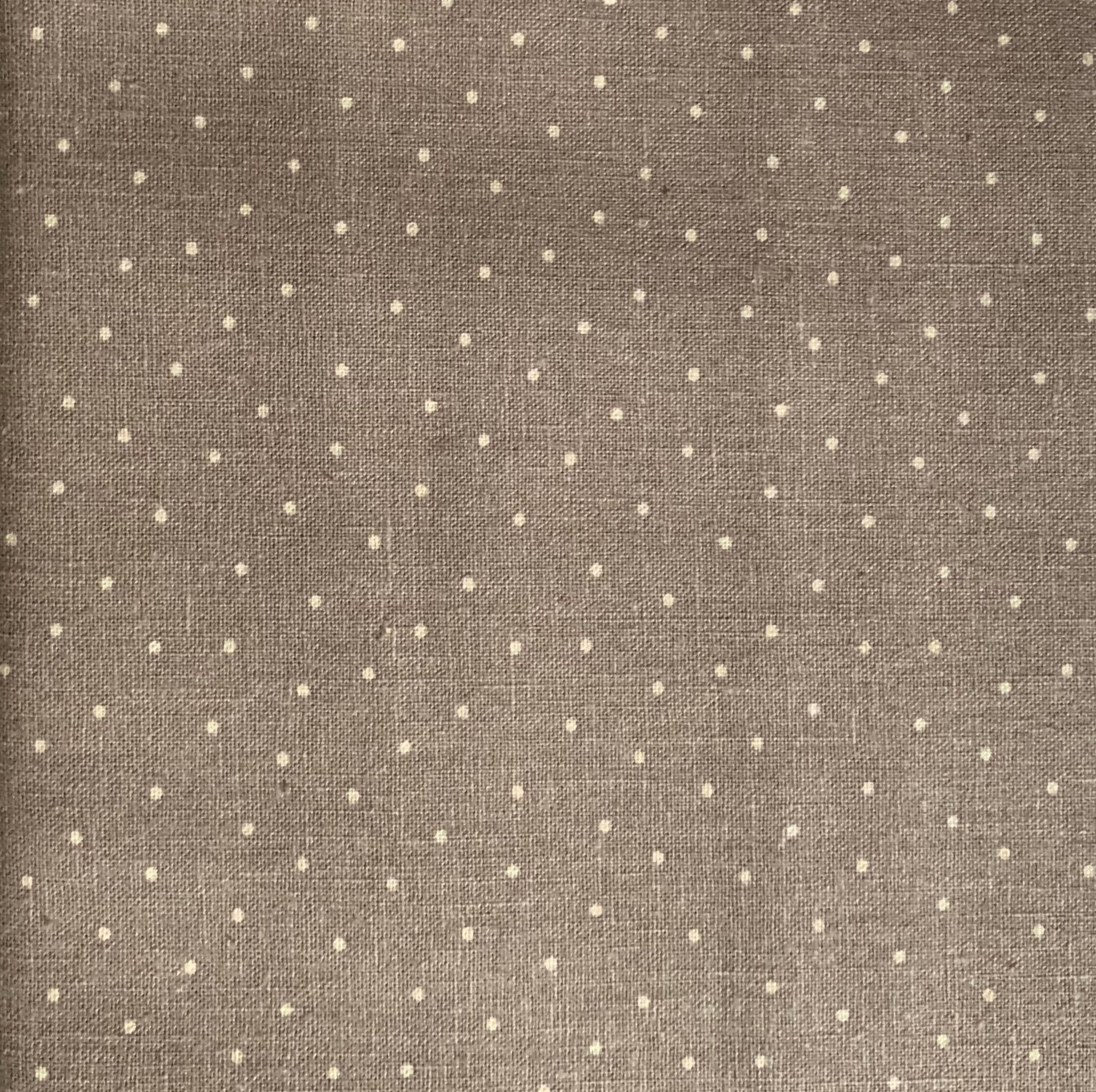"Grey and natural tiny dot 60"" Wide Linen/Cotton fabric"